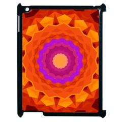 Mandala Orange Pink Bright Apple Ipad 2 Case (black) by Nexatart