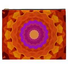 Mandala Orange Pink Bright Cosmetic Bag (xxxl)  by Nexatart