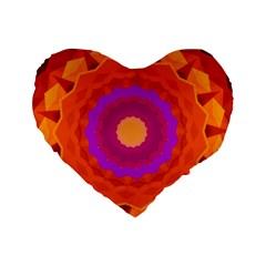 Mandala Orange Pink Bright Standard 16  Premium Heart Shape Cushions by Nexatart