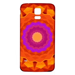 Mandala Orange Pink Bright Samsung Galaxy S5 Back Case (white) by Nexatart