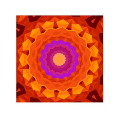 Mandala Orange Pink Bright Small Satin Scarf (square) by Nexatart