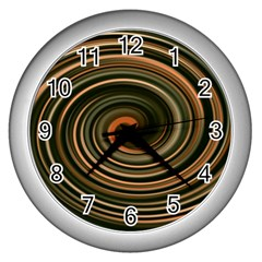 Strudel Spiral Eddy Background Wall Clocks (silver)  by Nexatart