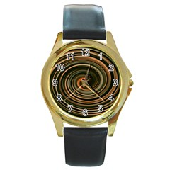 Strudel Spiral Eddy Background Round Gold Metal Watch