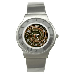 Strudel Spiral Eddy Background Stainless Steel Watch by Nexatart