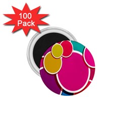 Paint Circle Red Pink Yellow Blue Green Polka 1 75  Magnets (100 Pack)  by Mariart