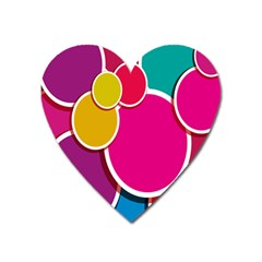 Paint Circle Red Pink Yellow Blue Green Polka Heart Magnet by Mariart