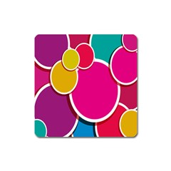 Paint Circle Red Pink Yellow Blue Green Polka Square Magnet by Mariart