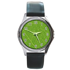 Green Leaf Line Round Metal Watch by Mariart