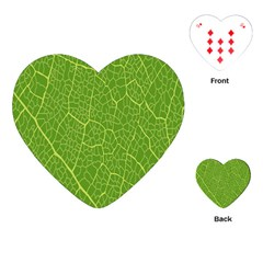 Green Leaf Line Playing Cards (heart)  by Mariart
