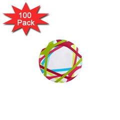 Nets Network Green Red Blue Line 1  Mini Magnets (100 Pack)  by Mariart