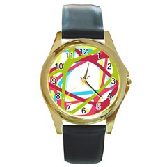 Nets Network Green Red Blue Line Round Gold Metal Watch by Mariart