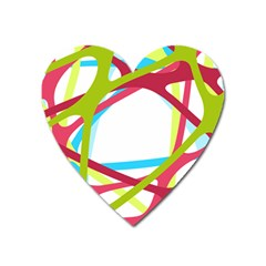 Nets Network Green Red Blue Line Heart Magnet by Mariart