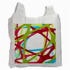 Nets Network Green Red Blue Line Recycle Bag (one Side) by Mariart