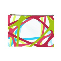 Nets Network Green Red Blue Line Cosmetic Bag (large)  by Mariart
