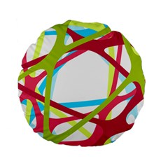 Nets Network Green Red Blue Line Standard 15  Premium Flano Round Cushions by Mariart