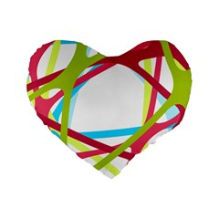 Nets Network Green Red Blue Line Standard 16  Premium Flano Heart Shape Cushions by Mariart