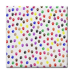 Paw Prints Dog Cat Color Rainbow Animals Tile Coasters by Mariart