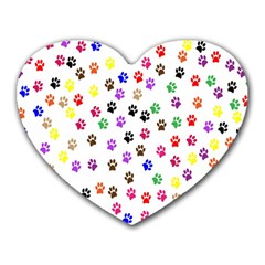 Paw Prints Dog Cat Color Rainbow Animals Heart Mousepads by Mariart
