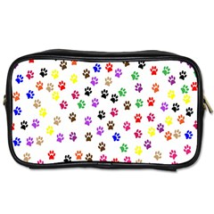 Paw Prints Dog Cat Color Rainbow Animals Toiletries Bags by Mariart