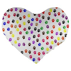 Paw Prints Dog Cat Color Rainbow Animals Large 19  Premium Heart Shape Cushions by Mariart