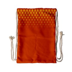Orange Star Space Drawstring Bag (small) by Mariart