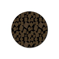 Magic Sleight Plaid Rubber Round Coaster (4 Pack)  by Mariart