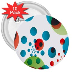 Polka Dot Circle Red Blue Green 3  Buttons (10 Pack)  by Mariart