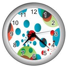 Polka Dot Circle Red Blue Green Wall Clocks (silver)  by Mariart