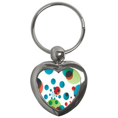 Polka Dot Circle Red Blue Green Key Chains (heart)  by Mariart
