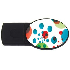Polka Dot Circle Red Blue Green Usb Flash Drive Oval (4 Gb) by Mariart