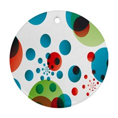 Polka Dot Circle Red Blue Green Round Ornament (two Sides) by Mariart