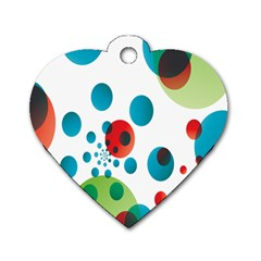 Polka Dot Circle Red Blue Green Dog Tag Heart (one Side) by Mariart