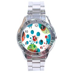 Polka Dot Circle Red Blue Green Stainless Steel Analogue Watch