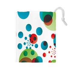 Polka Dot Circle Red Blue Green Drawstring Pouches (large)  by Mariart