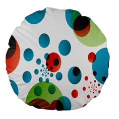 Polka Dot Circle Red Blue Green Large 18  Premium Flano Round Cushions by Mariart