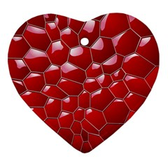 Plaid Iron Red Line Light Ornament (heart) by Mariart
