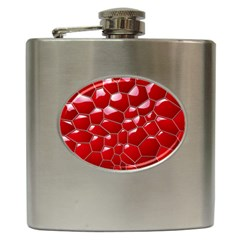 Plaid Iron Red Line Light Hip Flask (6 Oz) by Mariart