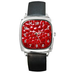Plaid Iron Red Line Light Square Metal Watch by Mariart