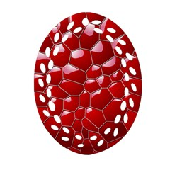 Plaid Iron Red Line Light Ornament (oval Filigree) by Mariart
