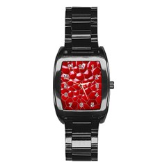 Plaid Iron Red Line Light Stainless Steel Barrel Watch by Mariart