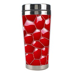 Plaid Iron Red Line Light Stainless Steel Travel Tumblers by Mariart