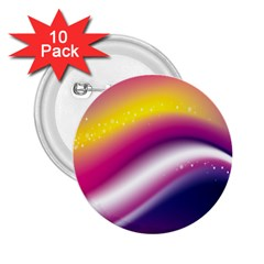 Rainbow Space Red Pink Purple Blue Yellow White Star 2 25  Buttons (10 Pack)  by Mariart