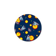 Rocket Ufo Moon Star Space Planet Blue Circle Golf Ball Marker (4 Pack) by Mariart