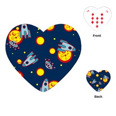 Rocket Ufo Moon Star Space Planet Blue Circle Playing Cards (heart)  by Mariart