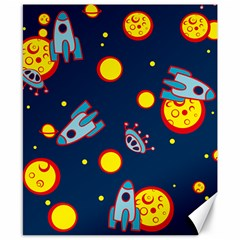 Rocket Ufo Moon Star Space Planet Blue Circle Canvas 8  X 10  by Mariart