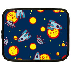 Rocket Ufo Moon Star Space Planet Blue Circle Netbook Case (xxl)  by Mariart