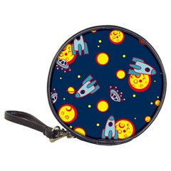 Rocket Ufo Moon Star Space Planet Blue Circle Classic 20 Cd Wallets by Mariart