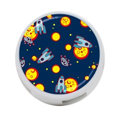 Rocket Ufo Moon Star Space Planet Blue Circle 4 Port Usb Hub (two Sides)  by Mariart