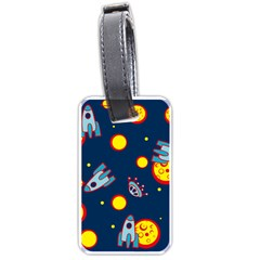 Rocket Ufo Moon Star Space Planet Blue Circle Luggage Tags (one Side)  by Mariart