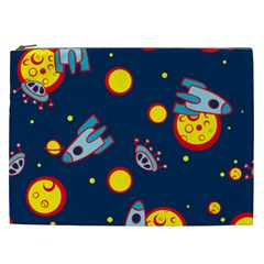 Rocket Ufo Moon Star Space Planet Blue Circle Cosmetic Bag (xxl)  by Mariart